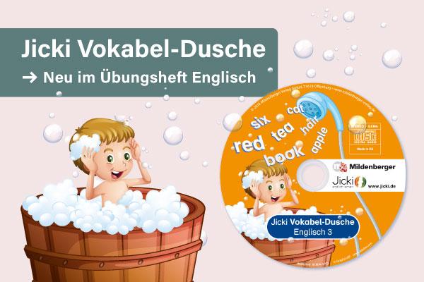 NEU im Übungsheft Englisch: Jicki Vokabel-Dusche